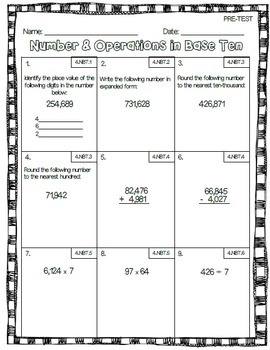 4th Grade Math Common Core Assessment Bundle & Data Tracking Graphs