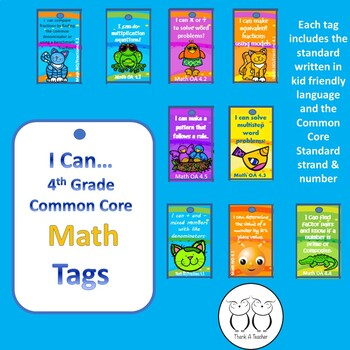 4th Grade Math Common Core Brag Tags