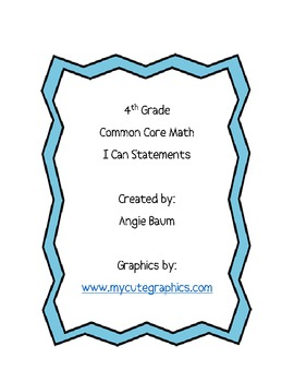 4th Grade Math Common Core Cards I Can Statements