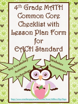 4th Grade Math Common Core Checklist - Lesson Planning Form