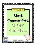 4th Grade Math Common Core Checklists (FREE!)