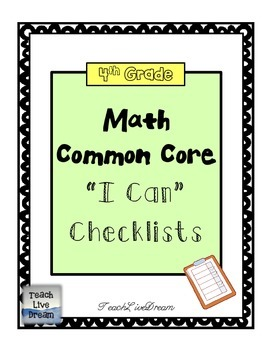 4th Grade Math Common Core Checklists (FREE!)