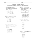 4th Grade Math Common Core Cumulative Test