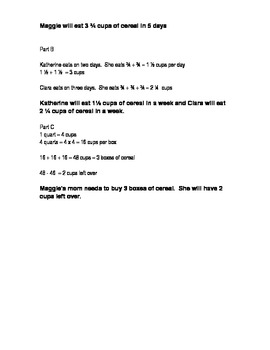 4th Grade Math Common Core Fractions Exemplar Word Problems
