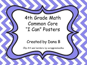 """4th Grade Math Common Core """"I Can"""" Poster -Chevron"""
