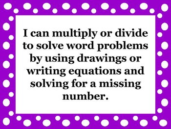 """4th Grade Math Common Core """"I Can"""" Posters"""