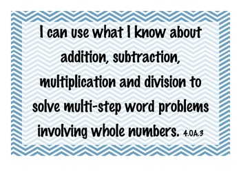 4th Grade Math Common Core 'I Can' Standards on Chevron Background