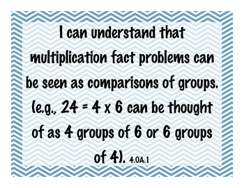 4th Grade Math Common Core 'I Can' Standards on Chevron Background