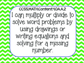 4th Grade Math Common Core I Can Statements
