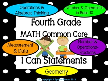 4th Grade Math Common Core I Can Statements Posters