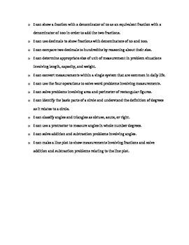 """4th Grade Math Common Core """"I Can"""" checklist"""