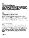 4th Grade Math Common Core Measurement Exemplar Word Problems