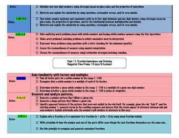 4th Grade Math Common Core Pacing Guide for PEARSON text