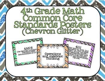 4th Grade Math Common Core Posters- Chevron Glitter