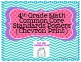 4th Grade Math Common Core Posters- Chevron Print