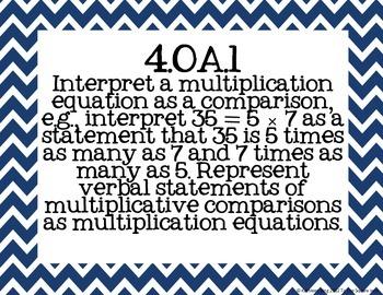4th Grade Math Common Core Posters- Nautical Print