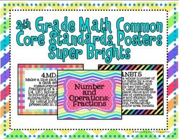 4th Grade Math Common Core Posters- Super Brights