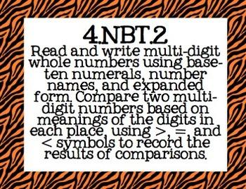 4th Grade Math Common Core Posters- Zebra Print