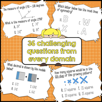 4th Grade Math Common Core Review Task Cards (with Riddle Code Answer Key)