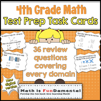 4th Grade Math Common Core Review Task Cards (with Riddle