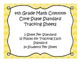 4th Grade Math Common Core Standard Track Sheets