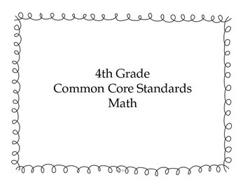 4th Grade Math Common Core Standards for Posting