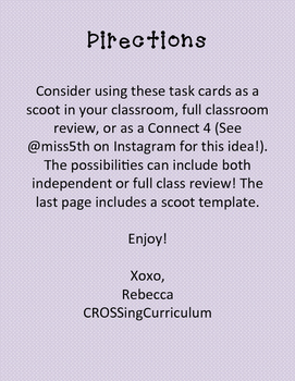 4th Grade Math Common Core Task Card Review/ Game/ Connect 4/ Printable!