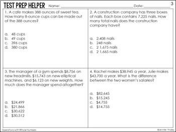4th Grade Math Common Core Test Prep Helper Bundle {25 Common Core Standards}