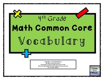 4th Grade Math Common Core Vocabulary Wall Set