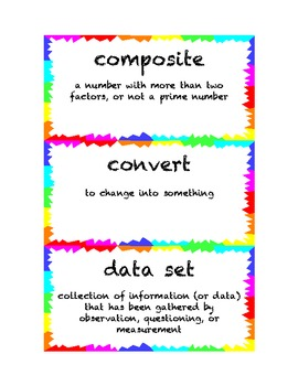 4th Grade Math Common Core Vocabulary Word Cards
