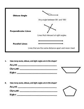 4th Grade Math Common Core Worksheet (4.G.1) by TeachLiveDream | TpT