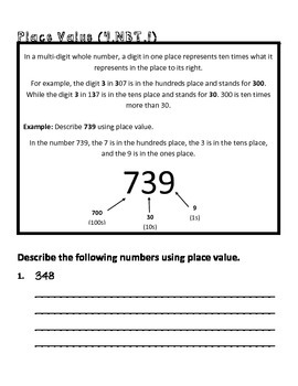 4th grade math common core worksheet 4 nbt 1 by teachlivedream. Black Bedroom Furniture Sets. Home Design Ideas