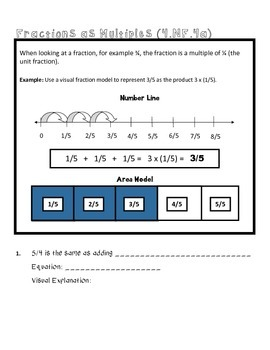 4th Grade Math Common Core Worksheet (4.NF.4a)