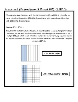 4th Grade Math Common Core Worksheet (4.NF.5)