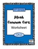 4th Grade Math Common Core Worksheet (4.OA.3)