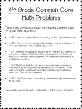 4th Grade Math Common Core Worksheets (New Jersey Unit 1)