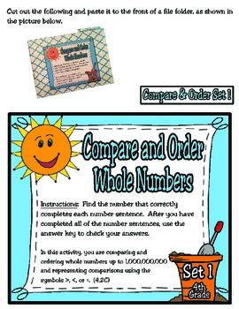 4th Grade Math: Compare and Order File Folder Activities (TEKS 4.2C)