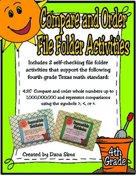 4th Grade Math: Compare and Order File Folder Activities