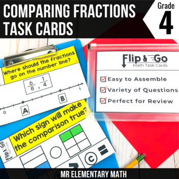 Comparing Fractions - 4th Grade Math Flip and Go Cards