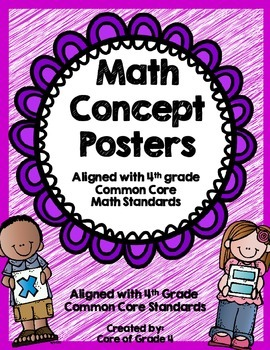 4th Grade Math Concept Posters Fractions Place Value Angles Shapes Measurement