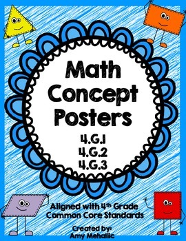 4th Grade Math Concept Posters Geometry 4.G.1 4.G.2 4.G.3 Angles Lines Symmetry