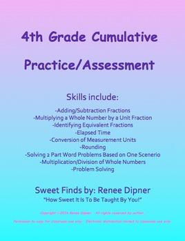 4th Grade Math Cumulative Practice/Assessment Fractions & Base Ten