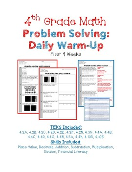 4th Grade Math Daily Warm-Up - First 9 Weeks