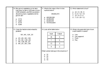 4th Grade Math Daily Review #6