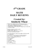 4th Grade Math Daily Review Booklet