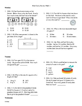 4th Grade Math Daily Review Week 1