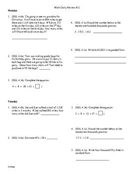 4th Grade Math Daily Review Week 12