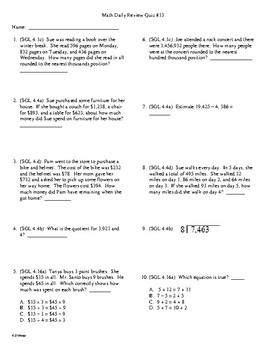 4th Grade Math Daily Review Week 13
