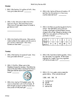 4th Grade Math Daily Review Week 20