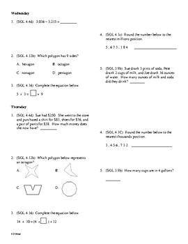 4th Grade Math Daily Review Week 21